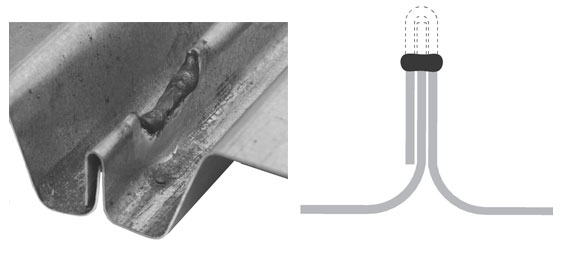 Left: Top seam weld installed at a sidelap. Right:  Side view of top seam weld.